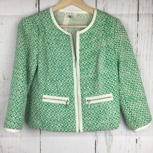 CAbi Women's Zip Up Green Cream Spring Blazer Sz 0